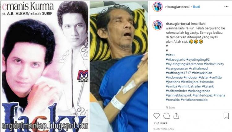 kabar berpulangnya Jacky Zimah diunggah Rita Sugiarto di akun instagramnya.