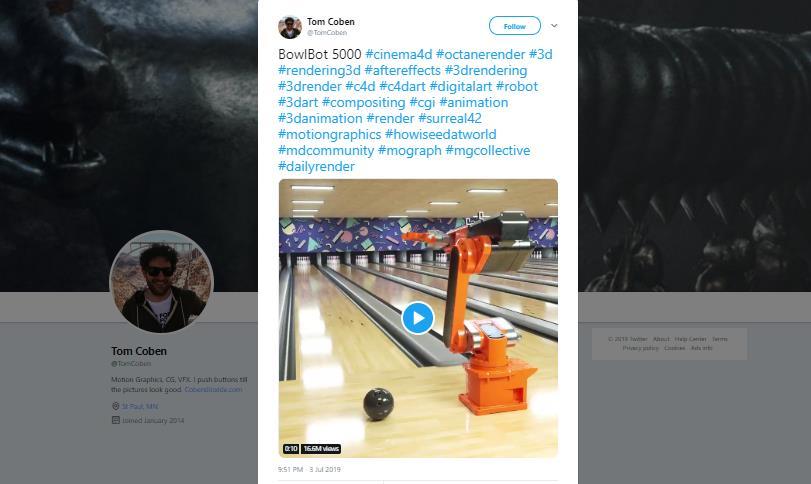 Tangkapan layar video robot bermain bowling yang diposting di Twitter.