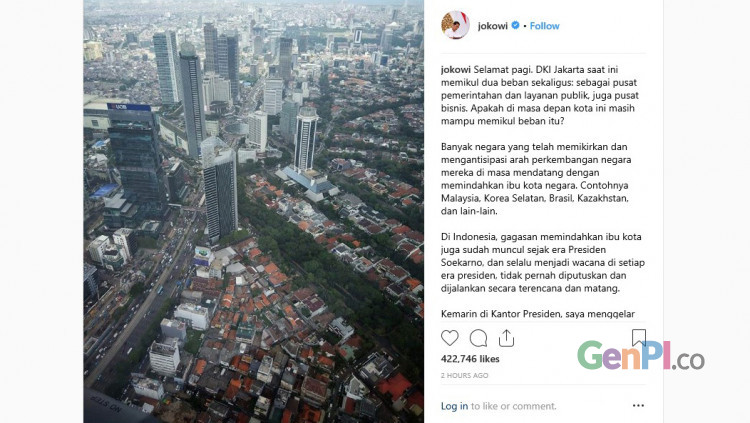 DI instagramnya, Jokowi bertanya ke netizen soal pemindahan ibukota. (Foto: Instagram/@jokowi)