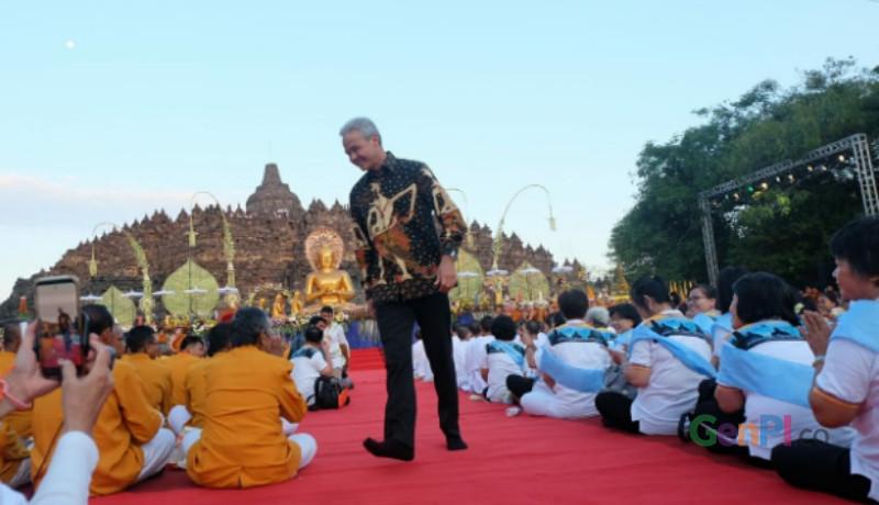 Ganjar Pranowo janji ke umat Budha bakal bikin tenang ibadah di Borobudur